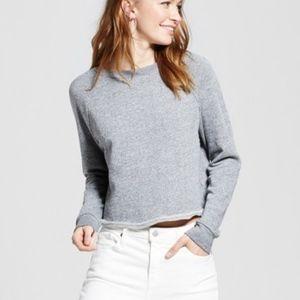 Dark Grey Oversized Cropped Long Sleeve Sweatshirt